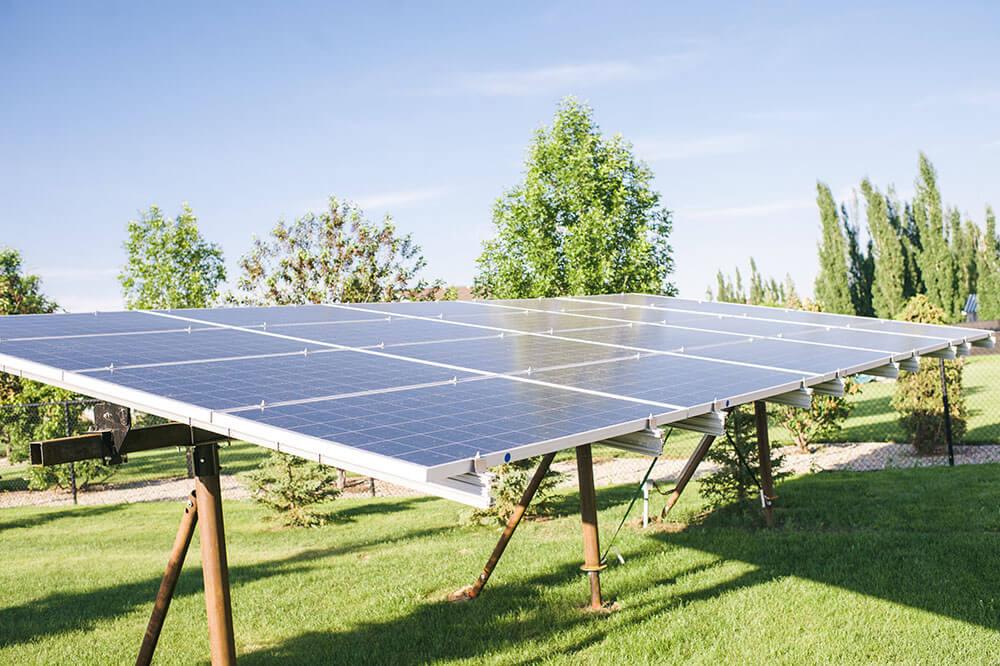 Solar Panel frame using screw piles