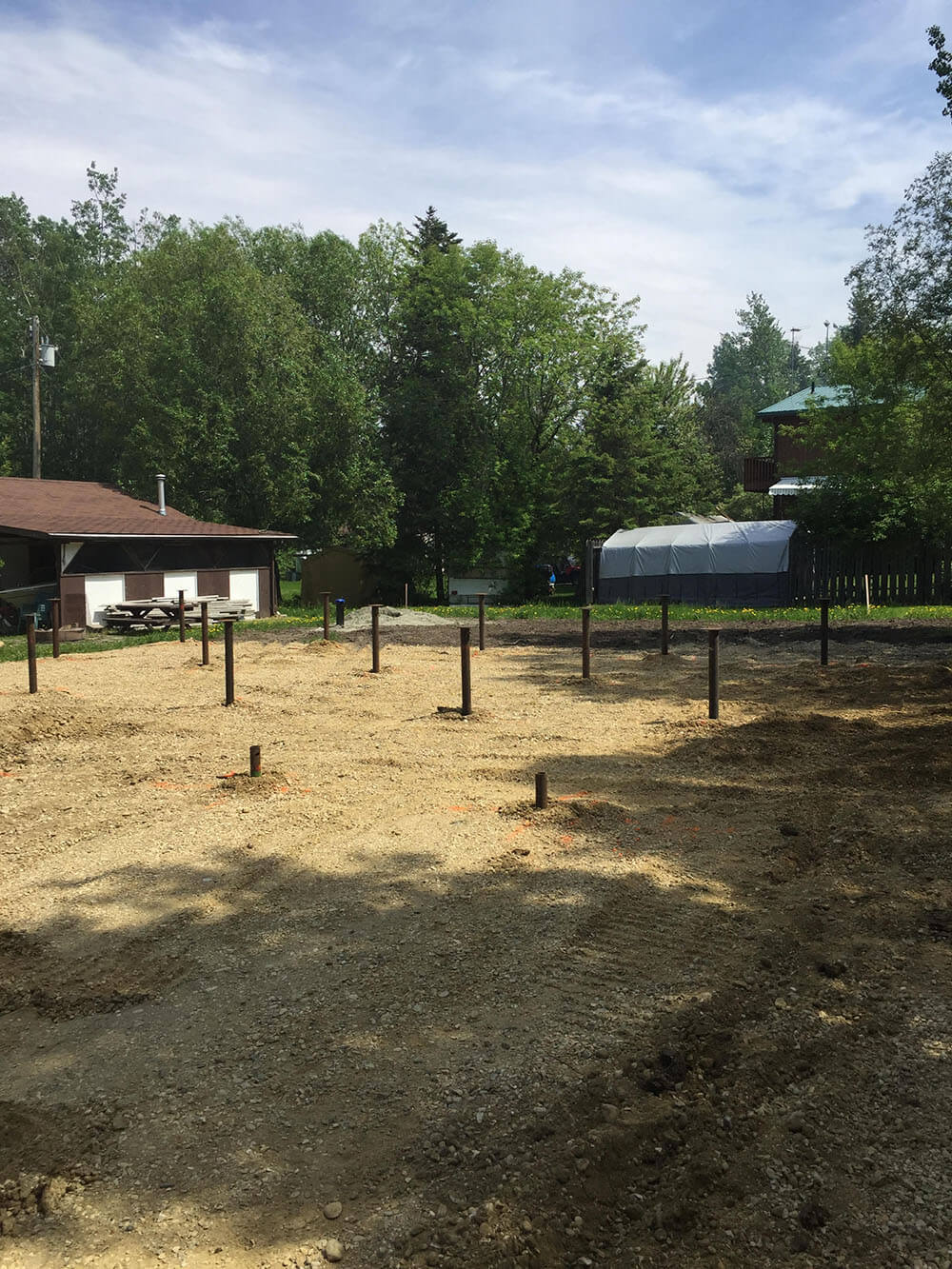 Screw Piles ready for construction